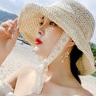 可折疊_蕾絲編織綁帶草帽/漁夫帽/大檐遮陽帽 3色【E297432】