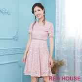 Red House 蕾赫斯-花朵蕾絲V領洋裝(共3色)-單一特價