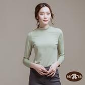 【岱妮蠶絲】立領色織條紋長袖上衣(淺綠)