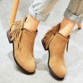 真皮短靴-歐美馬丁靴低跟側拉鍊流蘇女靴子2色72a13[巴黎精品]