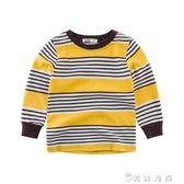 男童長袖T恤 純棉條紋上衣春秋新款童裝兒童體恤衫潮 薔薇時尚