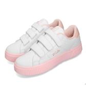 Fila 休閒鞋 C310T 白 粉紅 小白鞋 魔鬼氈 厚底 皮革鞋面 女鞋 運動鞋【PUMP306】 5C310T166