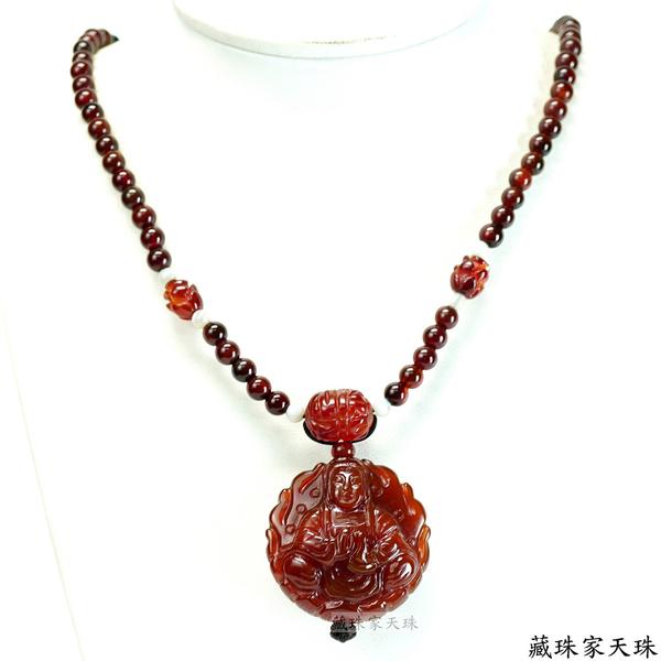 《藏珠家天珠》39mm紅玉髓六字觀音天珠項鍊
