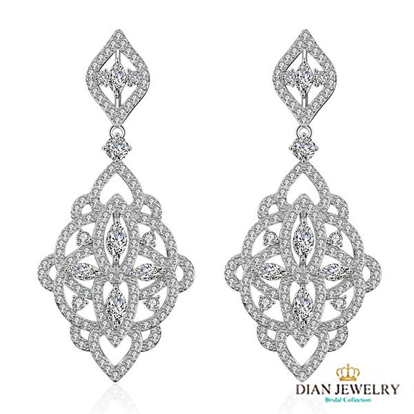【DIAN 黛恩珠寶】皇后的魔鏡 CZ鑽石耳環(RC71759)