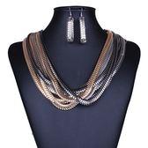 項鍊鍍18K金+耳環-歐美個性蛇鏈纏繞女毛衣鍊73nt33[時尚巴黎]
