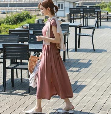 VK旗艦店 低調美復古抽繩長款綁帶開叉短袖洋裝
