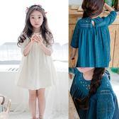 *╮S13小衣衫╭*夏季女童蕾絲勾花五分袖拼接連身裙洋裝1070359