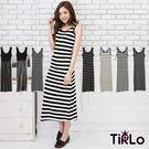 洋裝-Tirlo-條紋配色背心長洋裝-多...