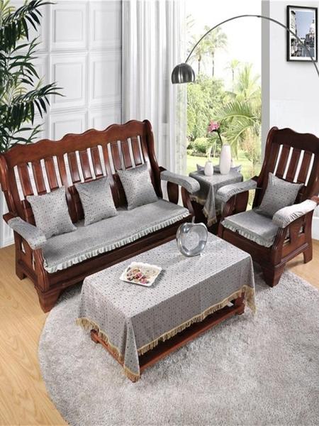 實木沙發墊春秋長椅墊木質全棉冬季木椅布藝客廳三人木頭紅木坐墊