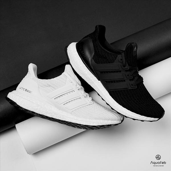adidas Ultra Boost 4.0 男女 白 黑 編織 慢跑鞋