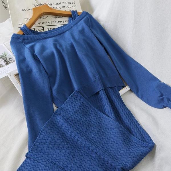 套裝兩件套 秋季針織毛衣配裙女兩件套小香風2019秋季韓版修身時尚套裝裙 4色