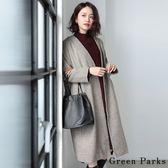 ❖ Winter ❖ 經典格紋V領長版大衣外套 - Green Parks