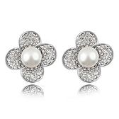 珍珠耳環 925純銀耳針式-鑲鑽花朵生日情人節禮物女飾品3色73bd249【時尚巴黎】