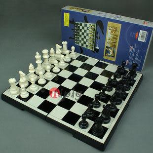 大號磁性國際象棋 折疊黑白格棋盤王高77mm 送絨布袋
