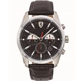 FERRARI 速度時尚計時三眼腕錶/黑面x黑皮/42mm/0830200