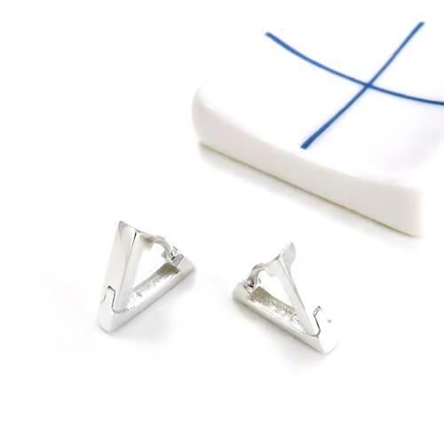 易扣/圈式耳環 方線V型(小) 易扣式 純銀耳環-64DESIGN