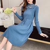 針織洋裝很仙的法國小眾針織洋裝女秋冬長款過膝收腰加厚打底蕾絲毛衣裙 全館免運