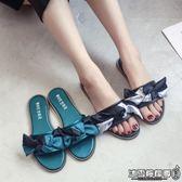 平底拖鞋 韓版蝴蝶結時尚外穿一字涼拖平底平跟孕婦學生防滑拖鞋女夏沙灘鞋