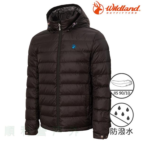 荒野WILDLAND 男款收納枕拆帽極暖鵝絨外套 0A72102 亮黑色 羽絨外套 輕羽絨 保暖外套 OUTDOOR NICE