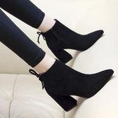 韓版尖頭高跟馬丁靴女短靴粗跟百搭女鞋裸靴磨砂女靴