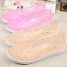 果凍涼鞋 夏季水晶果凍涼鞋女鏤空花朵洞洞鞋鳥巢透氣軟底舞蹈鞋媽媽鞋 韓菲兒