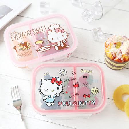 正版 Hello Kitty 分隔耐熱玻璃保鮮盒 密封盒 保鮮盒 分隔 微波爐 野餐 便當 收納盒 凱蒂貓
