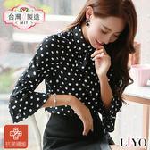 襯衫MIT抗菌除臭喇叭袖合身點點女裝黑襯衫LIYO理優-專利系列E745024