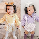 櫻桃刺繡假吊帶長袖三角包屁衣 長袖包屁衣 連身衣 嬰兒裝 包屁衣