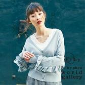 ❖ Spring ❖ 荷葉袖設計V領開襟罩衫 - E hyphen world gallery