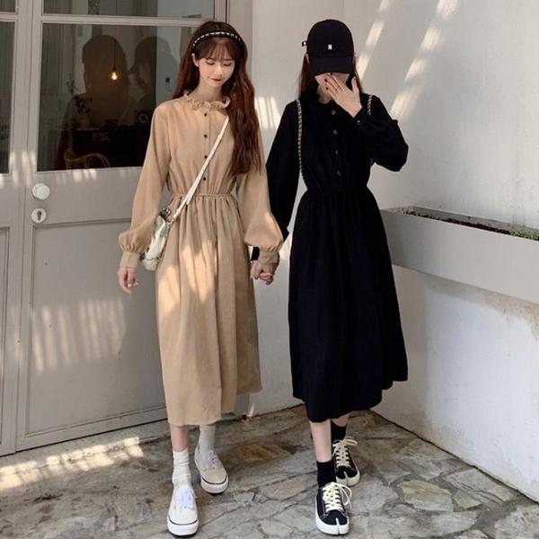 打底洋裝女裝秋冬季2020新款法式小眾黑色裙子收腰顯瘦內搭長裙 【夏日新品】