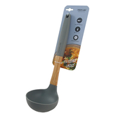 NEOFLAM繽紛原木矽膠湯勺28cm-灰色
