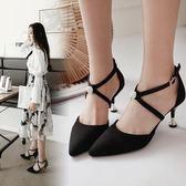 淺口單鞋女中跟尖頭細跟黑色綁帶夏季包頭正韓百搭一字扣高跟【七夕情人節】