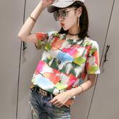 彩色潮流小衫.3077 夏時尚印花直筒百搭圓領短袖T恤女潮PF359快時尚