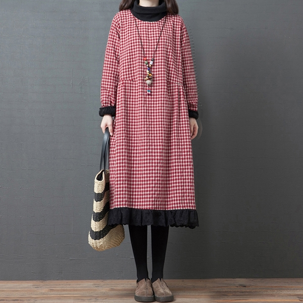 *ORead*韓版寬鬆高領加絨純棉格子連身裙