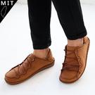 男款 大自然系舒適柔軟牛皮 MIT手工休閒氣墊皮鞋 棕色 59鞋廊