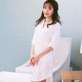 男友風BF風襯衫睡衣女士夏季七五分袖大尺碼寬寬鬆性感白色中長款睡裙 【降價兩天】