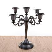 燭台歐式三頭五頭蠟燭台餐桌婚慶復古西餐廳浪漫燭光晚餐道具奢華擺件 小明同學