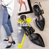 新款正韓尖頭淺口單鞋鉚釘中跟女鞋一字帶高跟鞋粗跟涼鞋 萬聖節