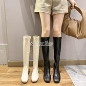 高筒靴子女騎士靴2010秋季新款英倫風顯瘦高跟方頭粗跟不過膝長靴 快速出貨