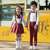 男童女童表演背帶褲兒童禮服國小校服幼稚園大合唱演出服裝 簡而美