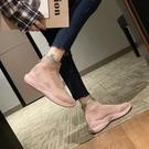 襪靴 彈力襪子鞋女秋季松糕老爹鞋秋款女新款潮鞋飛織高筒運動短靴 曼慕衣櫃