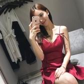 洋裝小禮服氣質名媛收腰顯瘦V領年會宴會吊帶抹胸性感漏背洋裝