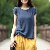 圓領棉麻上衣女針織短袖寬鬆夏裝新款純棉半袖T恤薄 花樣年華