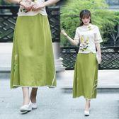 夏季新款中國風手繪棉麻民族風百搭大擺半身裙【新品推薦】