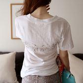 早春夏裝韓版寬鬆大碼V領T恤女短袖白色韓國東大門亮鉆竹節棉上衣QM 莉卡嚴選