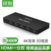 hdmi分配器1進4出高清4k筆記本機主機電腦顯示器攝影儀一分四分頻器電視頻多屏幕擴展器分屏器 YDL