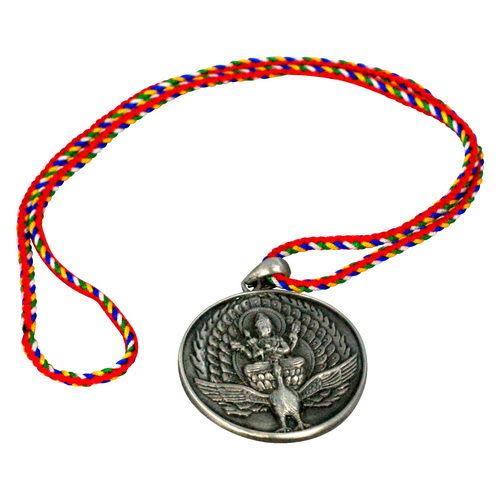 【藏傳佛教文物】佛母大孔雀明王 古銀項鍊 吊墜 護身符(PB-N00013)