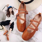 春夏新款韓國平底小方頭休閒小單鞋牛津底女生舞鞋潮奶奶鞋潮