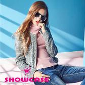 【SHOWCASE】氣質格紋無領短版小外套(灰)