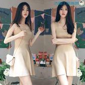 韓版無袖貼身裸色針織連身裙修身背心裙洛麗的雜貨鋪